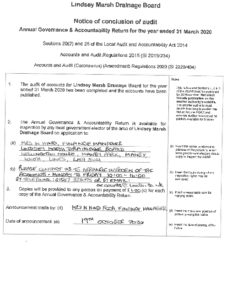LMDB Notice Of Conclusion Of Audit 2020